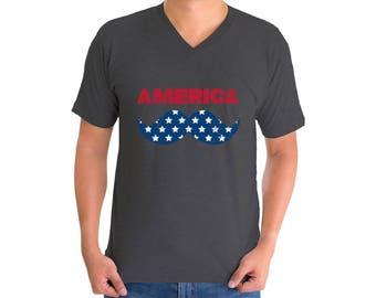 America USA Flag Mustache V-neck T shirts USA Men's Shirts Tops Fourth of July Hipster shirt Patriotic Gift