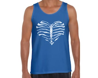 Skull Heart Rib Cage Tank Tops for Men Graphic Tank Tops for Day of Dead