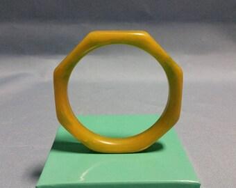 Bakelite Bangle Octagonal Shape in Olive/Goldenrod Color