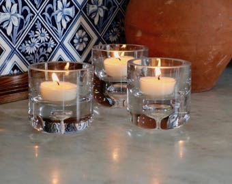 Glass Candle Tealight Holder, Gift Boxed, Set of 3