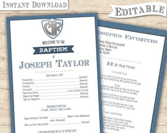 Instant Download - Editable PDF Baptism Program Boy CTR Navy Navy Blue Digital Print Baptism program printable Baptism Program Print Art
