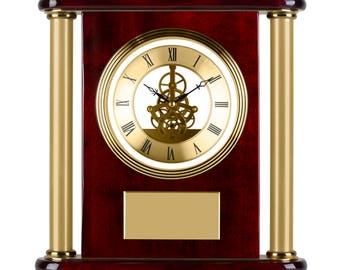 Gold Finish Presentation Clock - Personalised with your text / message. Perfect gift for retirement or anniversary!