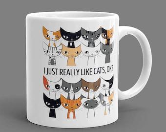 Cat Lover Gift, I Like Cats, Coffee Mugs, Gray Cat, Black Cat, Orange Cat, Calico Cat, Tabby, Striped, Brown, Siamese, White, Tuxedo Cat