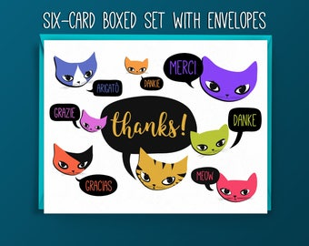 Cat Thank You Card Set - Multilingual Thank You - Hand-Drawn Cats Saying Thanks in Multiple Languages - Boxed Set - Six Cards with Envelopes