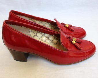 Celine, Byblos shoes heel pumps, loafer, 80 s, red / burgundy patent leather Vintage pumps, US 6, M, Fr 36, UK 3
