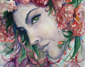 Portrait of a woman in flowers, original watercolor painting, modern artwork, decorative flowers, nature wall art, wall decor, gift for her