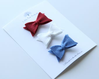 Set of 3 Wool Felt Bow Hair Clips - Red, White, Blue - Baby Bow - Hair Clip