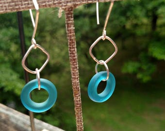 Teal Blue Seaglass and Argentium Silver Drop Earrings - With Hand Crafted Earwires and Headpins