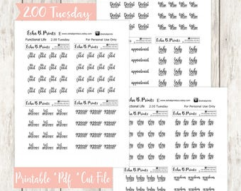 Two Dollar Tuesday Functional Life Printable Planner Stickers/Weekly Kit/For Use with Erin Condren/Cutfile/September Fall Glam Pets Play
