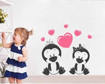 Wall stickers nursery | Penguins with heart NR186