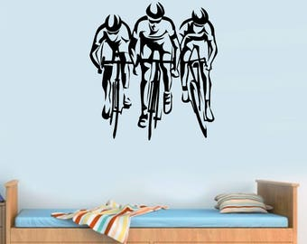 Bike Bicycle Cyclist Cyclists Road Bikes Sport Gym Wall Art Stickers Decals  Vinyl Part 77