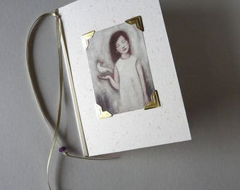 Folded card with illustration + Ribbon and beads