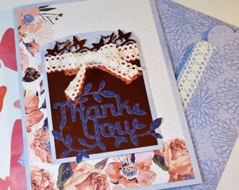 Thank you - handmade vintage and butterfly inspired greeting card for her with a matching custom envelope