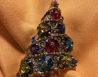 Weiss Bright Christmas Tree (Missing Back Pin) Brooch and One Earring (Large Enough to be a Brooch) Beautiful Book Piece
