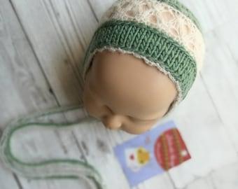 Newborn Girl's bonnet.  Evelyn bonnet.  Handmade prop.  Newborn photo prop.  Newborn photography prop