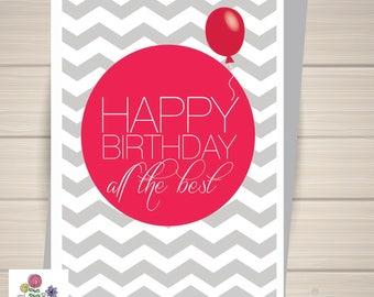 Happy Birthday card, Birthday card, Balloon, Chevon