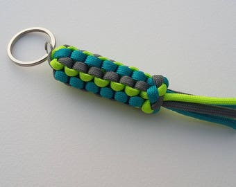 Keychain with secret compartment (gray/turquoise/green) Paracord
