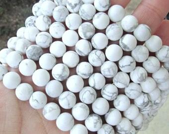 8mm matte Howlite, full strand, white howlite beads, frosted howlite, gray beads, 8mm gemstones, gemstone strand, matte white beads