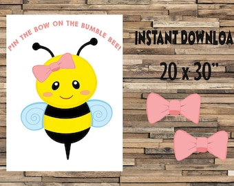 Printable Pin the bow on the Bumble Bee, Pin the bow on the bee, Bee shower activity, Bee birthday activity,  digital file