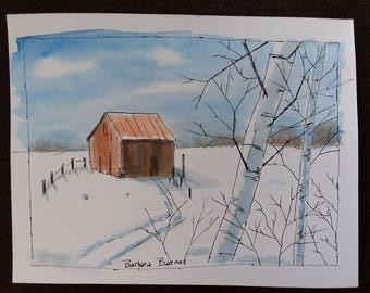 Original art painting barn winter scene ink
