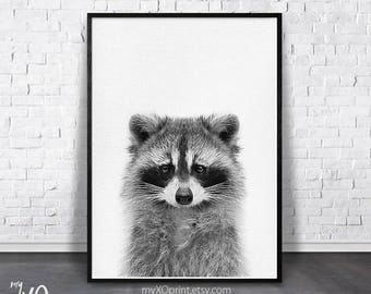 Raccoon Wall Art, Nursery Animal Print, PRINTABLE Art, Woodland Poster, Animal print, Black and White, Nursery Wall Decor, Baby Room Print