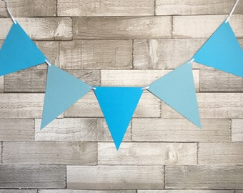 Blue bunting, party bunting, bbq bunting, garden party, festival bunting, party decorations, bedroom decor, children's party, blue party