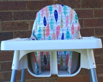 IKEA Antilop High Chair Cushion, Highchair Insert, Birthday High Chair Cover, Baby Nursery Decor, Baby Led Weaning, Pastel Leaves Decor