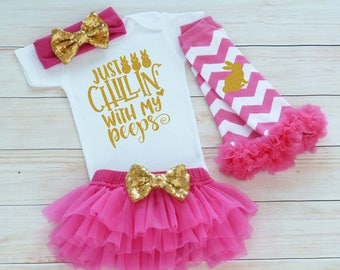 Chillin With My Peeps, My First Easter, Baby Girl Easter Shirt, Easter Bodysuit, Baby Girl Easter, Baby Easter Shirt, Baby Girl Easter Gift