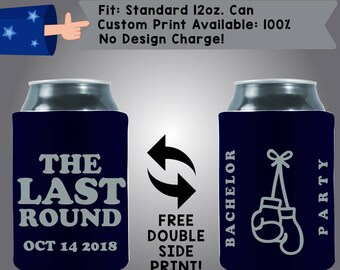 The Last Round Bachelor Party Boxing Collapsible Fabric Bachelor Party Can Cooler Double Side Print (Bach89)
