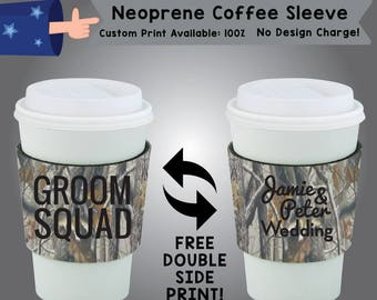 Groom Squad Name & Name Wedding Neoprene Coffee Sleeve Wedding Double Side Print (NCS-W5)