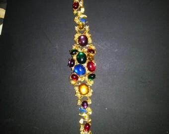Vintage gold rhimestone watch bracelet