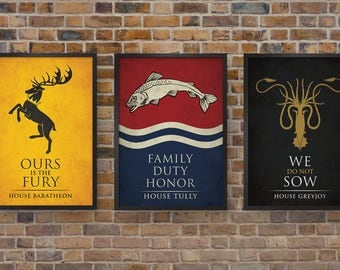 Game of Thrones - Set of Three House Banner Prints, House Baratheon, House Tully, House Greyjoy Posters
