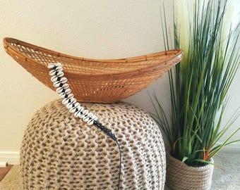 Vintage Long Shallow Wicker Basket