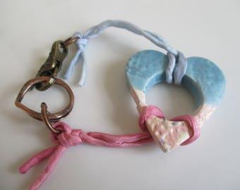 BO ho heart bracelet in ceramic and handmade ribbon