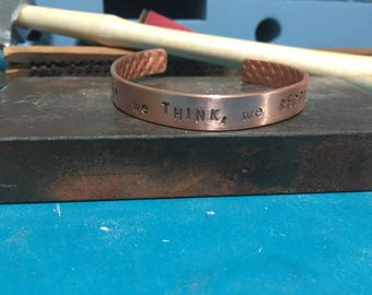 What we think, we become copper bangle