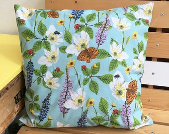 Luxury Cushion Flowers & Insects (blue)