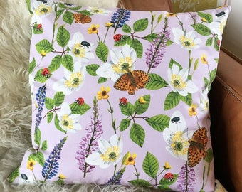 Luxury Cushion Flowers & Insects (Lilac)