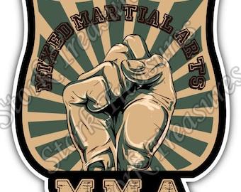 Mixed Martial Arts MMA Cage Fight Car Bumper Vinyl Sticker Decal