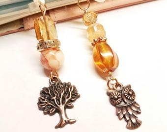 Champagne Pink Rose Gold Copper Owl Tree Planner Bead Charm Bookmark for Standard Midori Traveler's Notebook Journal Book Planner TN