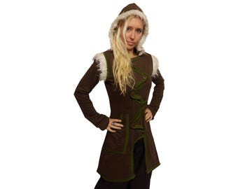 green brown pointy hood hooded JACKET TOP COAT s m 10 12 14 steampunk psy hippy