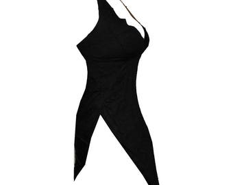 asymmetric black pointy leaf cotton top can also be worn as SKIRT S M 10 12 14