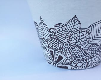 Zentangled, hand sketched, painted pot