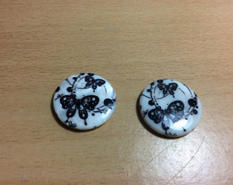 Pearl motif beads black and white butterflies.
