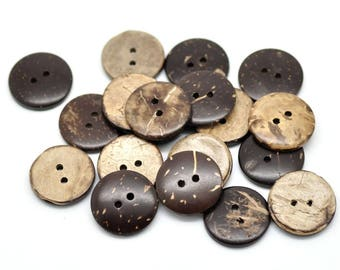 100 x coconut wood button coconut buttons Brown, 20 mm