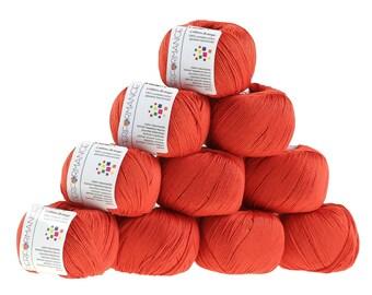 10 x 50 g knitting wool cotton breeze, #198 orange