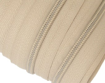 6m of endless zipper 5mm with 15 zippers and pieces 308 grey beige