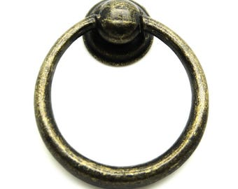 5 x ring handle drawer handle 44 x 37 mm antique bronze