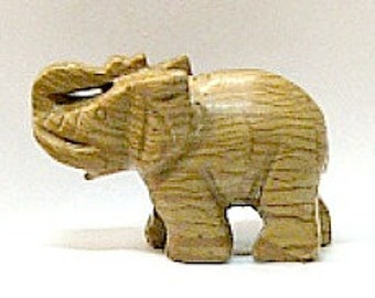Lucky Trunk Up Elephant in Wooden Line Jasper Stone