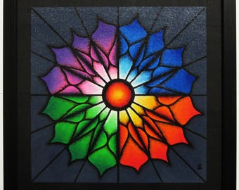 Modern table: colorful flower.