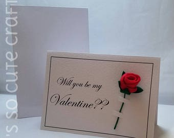 Valentine's Card with handmade rosebud